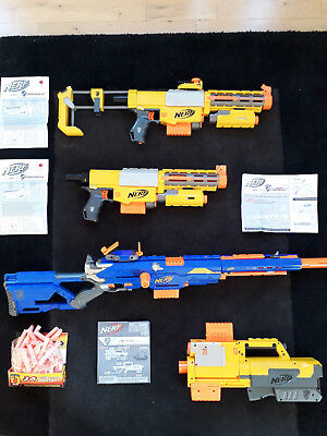 NERF gun N-Strike Longstrike, 2 x Recon and Deploy bundle used