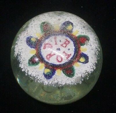 """I.F. Ford Union Gift Estate Find 3.75"""" Glass Sulphide Paperweight (S2)"""