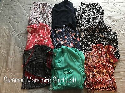 Summer Lot   (9) Maternity shirts!! Clean and Comfy from a smoke free home!