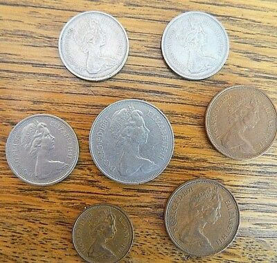 United Kingdom UK New Pence Coins set Lot of 7  10 pence 5 pence 2 pence 1 pence