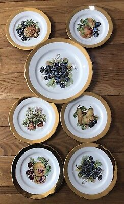 Vintage Sandwich Set Of 7 x MZ Czechoslovakia Fruit Design Gold Gilt Plates