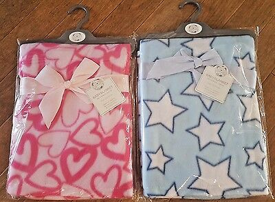 Pink Hearts And Blue Stars Baby Cot Blanket New  100X150Cm Boy Girl Colour