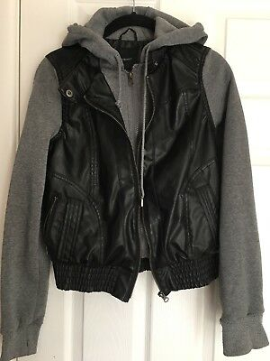 Forever 21 Black Gray Faux Leather Zip Moto Jacket Hoodie S Small NWT