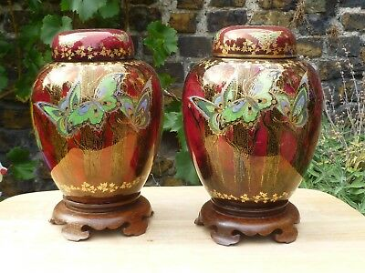 Fieldings Crown Devon Flambe Lustre Vases or Ginger Jars