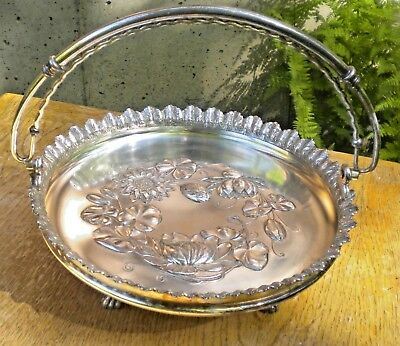 Antique Wilcox Silver Plate Paw Footed Basket With Handle Deep Cut Water Lily