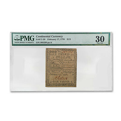 1776 1/3 Dollar Continental Currency Fugio Note 2/17/76 VF-30 PMG - SKU#169382