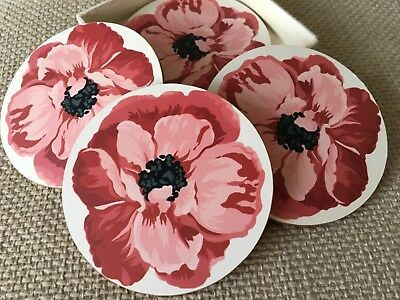 laura ashley coasters. Poppy flower design. Round and red/pink in colour.