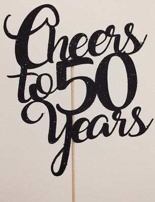 Cheers To Fifty Years Cake Topper 50th Birthday Party Decoration Anniversary