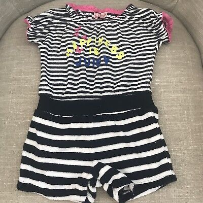 Juicy Couture Baby Girls Terry Romper Size 12-18 Months Navy White Pink EUC