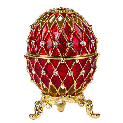 Imperial Netting Faberge Egg Jewelry Box in Red Made in Russia, Gift Box