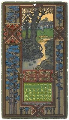 Strobridge Litho Co Calendar 1906 River by Trees Forest Victorian Trade Card