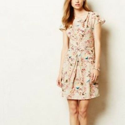 Anthropologie Yumi Fitted Dress Bird Print $148 M 6/8NEW WITH TAGS! Sold out!