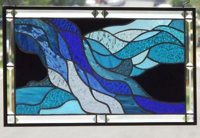 "• Turbulence •Beveled Stained Glass Window Panel • 21 ½"" X 12 ½"""