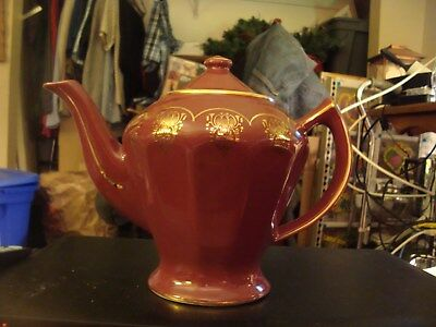 Hall China teapot model  # 0233  burgundy