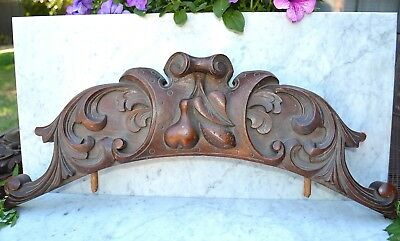 Antique Carved Wood Architectural Pediment Arched Carved Fruit Pear Acanthus
