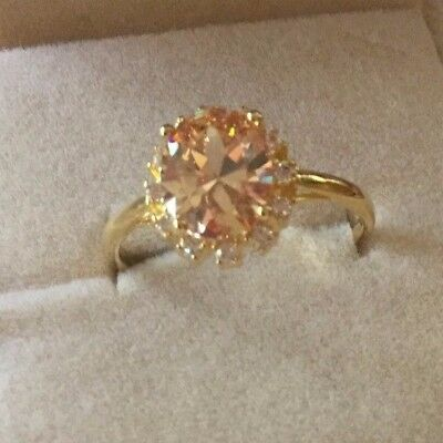 Antique Vintage Gold Dress Ring Champagne and Sapphire White stones size 9 or S