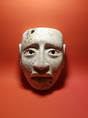 Pre-Columbian Lime Stone Olmec Mask 1200 BC-600 AD