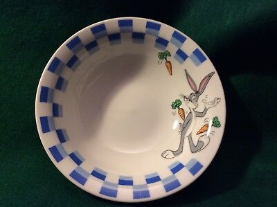 Warner Bros Looney Tunes Bugs Bunny Rim Soup/Cereal Bowl Blue Checkered Gibson