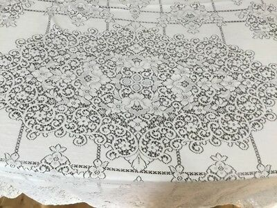 Vintage Hand Made Crocheted Cotton Lace Table Cloth 54''X 76'' Beige