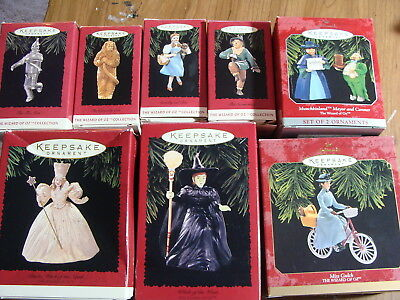 1994-97 Lot of 8 Hallmark Wizard of Oz ornaments in boxes