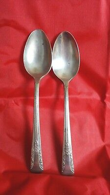 ANTIQUE Silverplate CAMELIA 2 teaspoons 1940 by international Silver