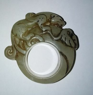 China Nature Xiu Jade Stone Jewelry Hand Carved Dragon Statue Ring Fingerstall 2