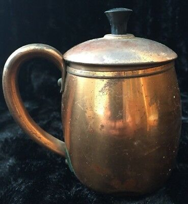 "Vintage Antique West Bend Solid Copper Moscow Mule Cup Mug with Top 4.5"" Estate"