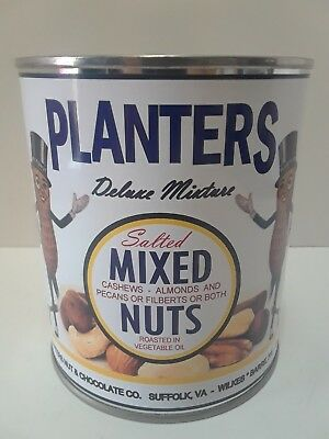 1950's Planters Salted Mixed Nuts White Can (Reproduction Tin Collectible )