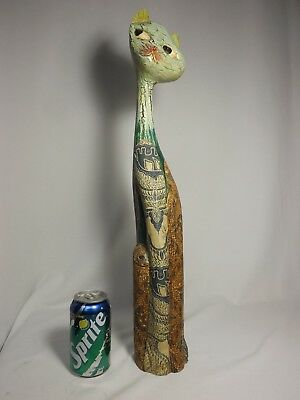 "24"" Tall Wood Carved Cat Hand Painted w/textured canvass painted cloth - FOLKART"