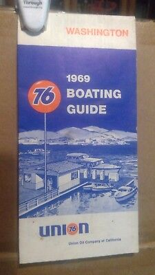 1969 Union 76 Marine Boating Guide Map Washington State Waterway Road