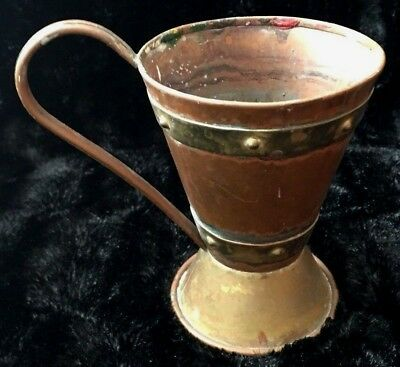 Vintage Antique Hector Aguilar Hammered Copper & Brass Cup TAXCO Mexico c1940