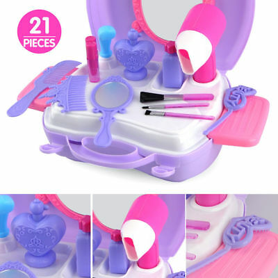 21PCS Girls Play House Makeup Cosmetic Beauty Set Kids Pretend Role Play Set Toy