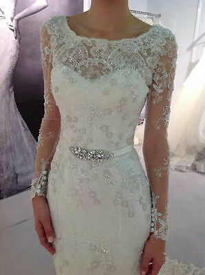 2018 Fashion Beaded Belt Lace Long Sleeve Wedding Dress Pageant Evening Gown Deb