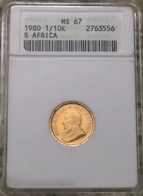 1980 1/10 Krugerrand ANACS MS67 Ultra Rare In This Grade! Only Coin On Ebay MS67