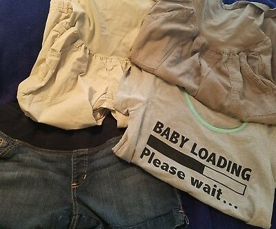 Lot of 4 womens maternity clothes 2 capris, shorts and top l and xl