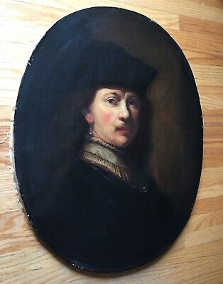 REMBRANDT Old Master Fine Antique Self Portrait Oil Painting 19th Century