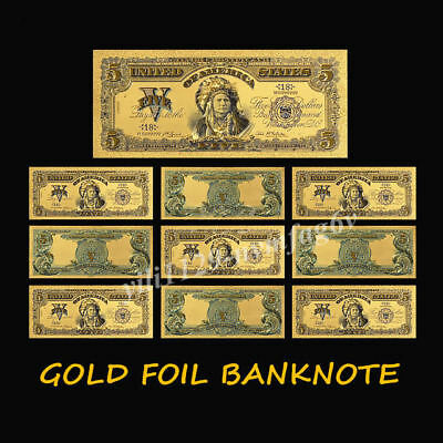 3pcs 1899 Year 1 2 5 Dollar 24k Gold Plated Gold Banknote Set Home Decor Gifts