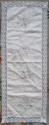 Linen Table Runner With Violets Design To Embroider