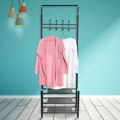 Metal Coat Hat Clothes Cloth Shoe Bag Rack Stand Standing Garment Hanger+Hooks