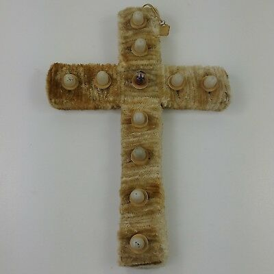 ib Vtg Lighted Cardboard Pipecleaner Cross Easter Christmas Decor Wall Hanging
