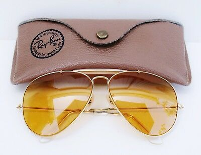 Vintage B&L Ray Ban USA Aviator Outdoorsman Ambermatic Changeable 62 MM  w/ Case