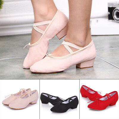 Women Teacher Ballroom Ballet Latin Practice Dance Shoes Almond Toe Mid Heel Lot