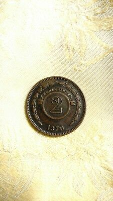 PARAGUAY 2 CENTESIMOS 1870 SCARCE Nice Condition!!!