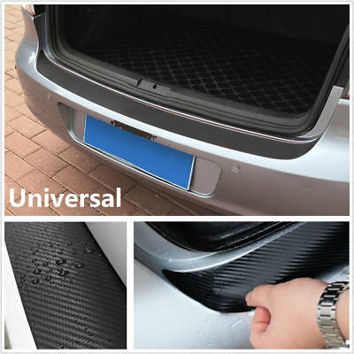 Black DIY Car 4D Carbon Fiber Look Inner Rear Bumper Protector Sill Trunk Trim