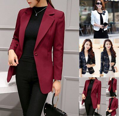 Womens Long Sleeve Slim Fit OL Work Jacket Suit Blazer Coat Lapel Button Top AU