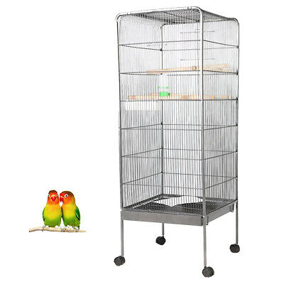 146cm Large Bird Cage Parrot Aviary Pet Stand-Alone Budgie Perch Castor Wheels