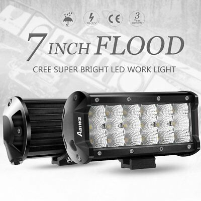 "7""INCH 54W Cree LED Work Light Bar Flood light Driving OffRoad Tractor 4WD 12V"