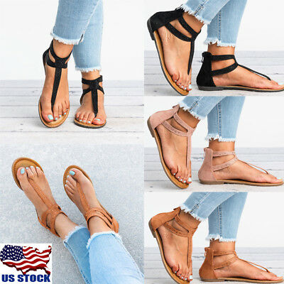 0bb5d37d23a9 Women s Rhinestone T-Strap Thong Ankle Strap Back Zip Gladiator Flat Sandals  USA