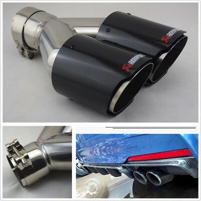 63-89mmGlossy 100% Real Carbon Fiber Car SUV Dual Exhaust Pipe Tail Muffler Tip
