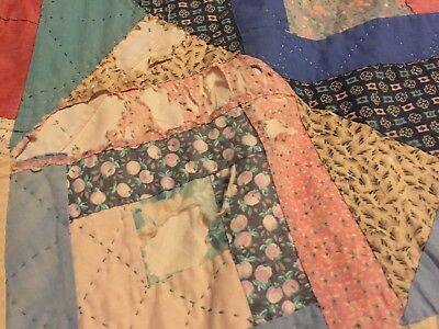 Vintage Crown&Cross (?) Quilt- Hand Stitched~Wear from Age~VVG~Future Heirloom!